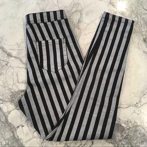 Asos 28 striped black silver high waist jean pants